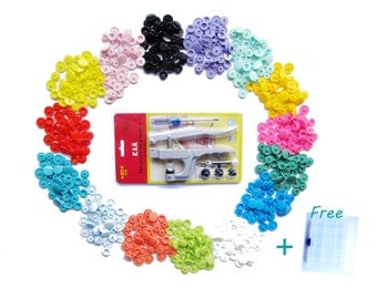150 KAM Plastic Snaps and Pliers / 15 Colors T5 Size 20 Snaps / free case