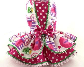Dog Dress, Dog Harness Dress, Dog Fashion, Ruffle Dress for Small Dog, Cotton Dress, Custom Dog Dress, Polka Dot Dress, Princess, Pink