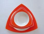 RESERVED for P****C*******: Custom Atomic Art Deco Salem Tricorne Dinnerware for 6 in Mandarin Orange