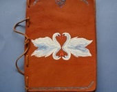 Celtic Double Swan Leather Journal Blank Book