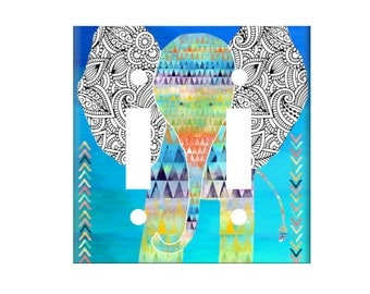 Elephant Switchplate Cover - Zentangle Elephant Nursery Room - Light Switch Cover - Single Toggle Switch - Rocker Cover