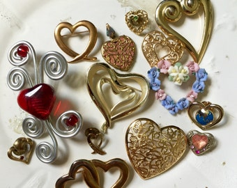 Vintage HEART Brooch Pin LOT Destash Crafting Repurpose
