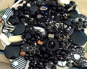 HUGE 1 pound 13 oz Bead Mix Destash Lot Findings Black Glass Stone Rhinestone