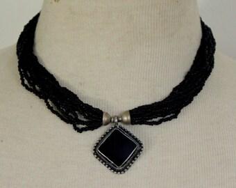 Vintage Necklace Multi Strand Black Statement