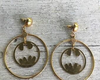 DC COMICS Batman Earrings Signed Gold Tone