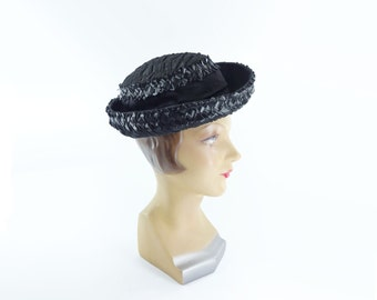 Vintage Black Hat, 60s Breton Hat, Black Straw Hat, 1960s Bumper Hat, Black Rafia Hat, 60s Black Silk Hat, 1960s Sailor Hat