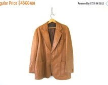 Mens Leather Jacket Coat Vintage Blazer Light tan Brown // dress coat Size Large