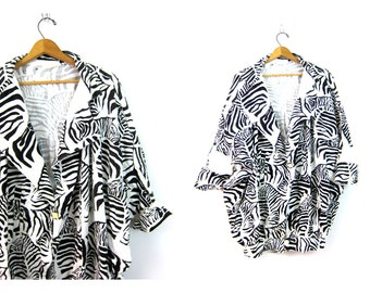 80s ZEBRA Print Jacket Oversized Black and White Coat Animal Graphic Jacket Slouchy retro Loose Exaggerated Fit Vintage Women's OSFM DELLS