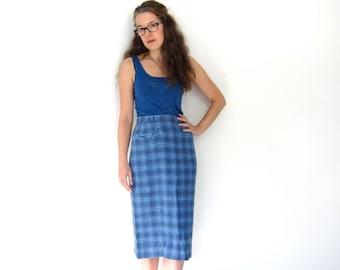 Plaid 60s Wool Pencil Skirt High Waist Blue White Preppy Fall Skirt Midi Over Knee Length Front Pocket Mod Small Louanne's Vintage