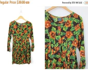 Floral print babydoll tunic top Micro mini dress shirt rayon blouse Brown & Orange Flowers 90s Revival Graphic Print Dress Women's SMALL