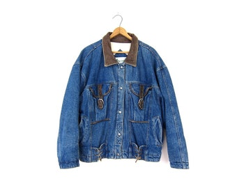 Oversized Slouchy Denim Jean Jacket 80s Buckled Leather Denim Coat LACE UP 90s Heavy Jean Jacket Winter Coat Thick Jean Jacket Mens Small