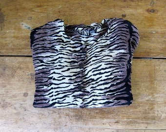 Sheer ZEBRA Print Blouse Button Up Loose Fit Shirt Vintage 1990s Hipster Boho Top Slouchy Long Sleeve Shirt Women's Medium