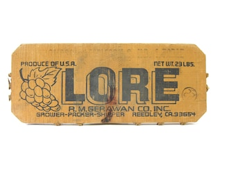 vintage Lore Grapes Advertising old primitive wooden crate panel wall hanging Wood Crate End California Stencil