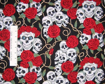 Folklorico Fabric - Rose Tattoo Skulls Black - Alexander Henry YARD