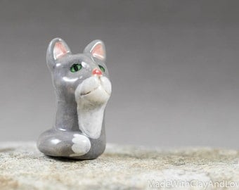 Little Grey Cat - Terrarium Figurine - Miniature Ceramic Porcelain Kitty Cat Animal Pottery Sculpture - Hand Sculpted OOAK