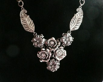Vintage Rose and Rhinestone Victorian Style Necklace