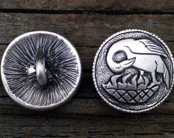 Pelican Button | Pelican in her Piety Buttons | Medieval buttons | Pewter Buttons |  Renaissance buttons by Treasure Cast Pewter