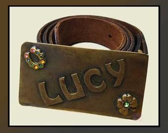 You Love LUCY--Brass Lucy Belt Bucke/Belt,Good Luck,Vintage Accessories,Women/Girls