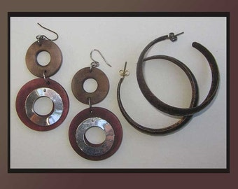 In CIRCLES,2 Pairs of Modernist Costume Earrings,Hammered Copper Hoops,Wood and Metal Dangles,Vintage Jewelry,Women