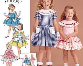 GIRLS DRESS PATTERN! Make Vintage style 50's Style Clothes / Sizes 1/2~3 or 4~8