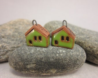 READY TO SHIP...Green Miniature House Charms in Terracotta...Set of 2