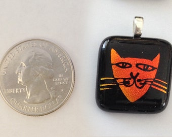 Mini Hand Etched Kitty (Cat) Dichroic Glass Pendant