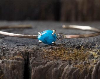 Asymmetrical Turquoise + Diamond Cuff