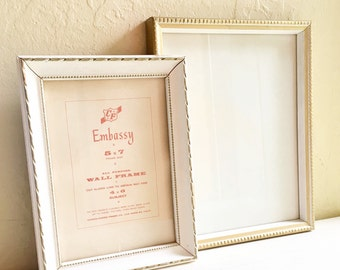Two Unique White and Gold Vintage Wood Picture Frames Wall Hanging 5x7 7x9