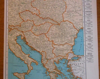 Vintage Central Europe Map, 1942 antique atlas map, old maps
