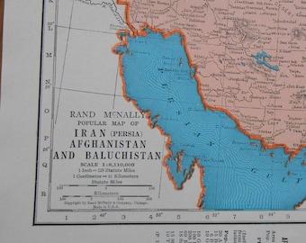 Vintage Map of Iran, Afghanistan, 1947 original old Atlas Map, wall art, decor