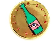 """SPIN THE BOTTLE- 1.1"""" actually spinning Lapel pin By Penelope Gazin"""