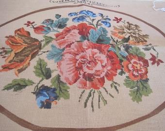 Vintage Austrian floral Needlepoint Canvas