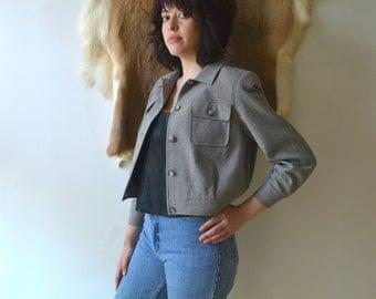 Vintage Pendleton Cropped Military Jacket/ Grey Wool Herringbone Jacket /Petite 6
