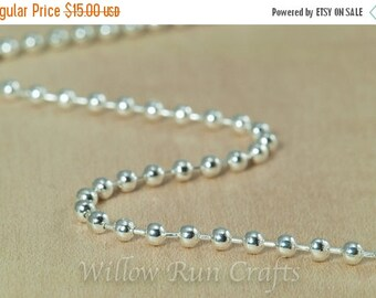 ON SALE 25 High Quality 20 inch Shiny Silver Plated Ball Chain Necklaces 2.4 mm with Lobster Clasp. (15-40-306)