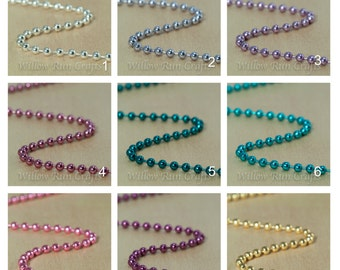 50 Colored Ball Chain 1.5mm Necklaces, 24 inch Chain with connectors Select your Colors.