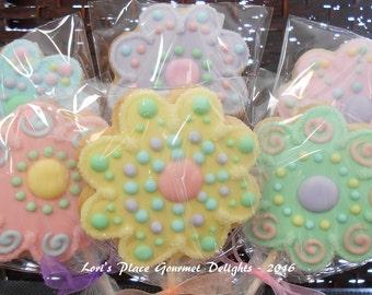 Flower Cookie Pops - Sparkle Flower Cookie Pops - 12 Cookie Pops
