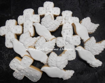 Cross Cookies - Dove Cookies - Baptismal Cookies - Christening Cookies - 12 Cookies