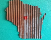 LOVE YOUR STATE Barn Tin with Heart!  Junk Rusty wall decor home country
