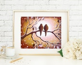 Pink and Brown Wall Art Bird Print, Romantic Love Bird Wall Decor, Nature Inspired Bedroom Decor, Tree Branches Couples Gift Wedding Gift