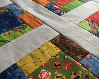Quilt Top - Unfinished baby sized quilt top - Detour Ahead - bright and fun 38 in x 38 in