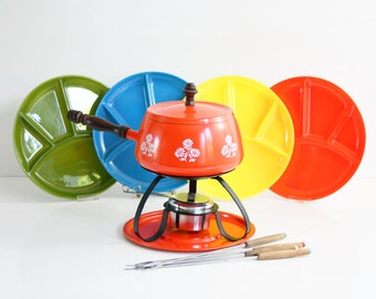 Colorful Vintage Fondue Set / Mid Century Fondue Pot With Colorful Plates and Forks