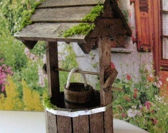 dollhouse  well, wishing well, wood well, , dollhouse wishing well, ,dollhouse miniature, twelfth scale, garden well