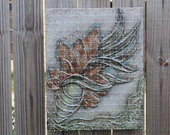 """Sculptural Painting """"Cage-Free"""" by Amber Cunningham (upcycle, recycle, reuse, conserve)"""