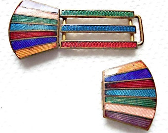 Art Deco Enameled Buckle: Multicolor Stripes - brass base metal - unusual three part construction