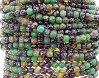 4mm Amazon Jungle Picasso Mix Czech Glass Round Beads - Qty 50 (AW9)