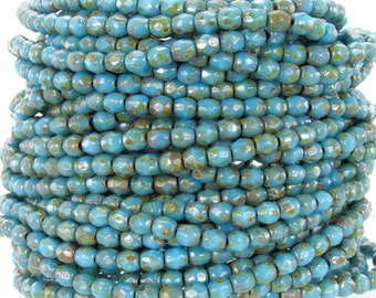 3mm Faceted Opaque Dark Blue Turquoise Picasso Firepolish Czech Glass Beads - Qty 100 (BS554)