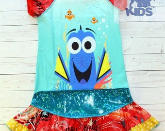 A dress made out of authentic FINDING DORY  tshirt super cool funky recycled upcycled  pieced  size 6