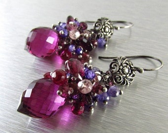 End Of Summer Sale Spinel, Quartz and Rhodolite  Garnet Cluster Earrings - Gemstone Post Earrings