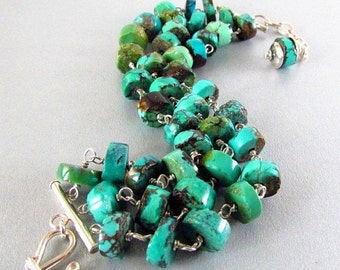 20 % Off Three Strand Turquoise Wire Wrapped Sterling Silver Bracelet