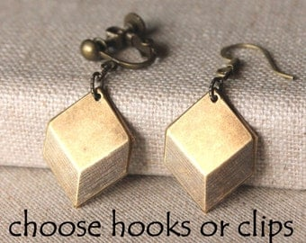 Art deco earrings, choose hooks or clip earrings, antiqued brass OR silver cube lightweight earrings Art Deco Jewelry E626